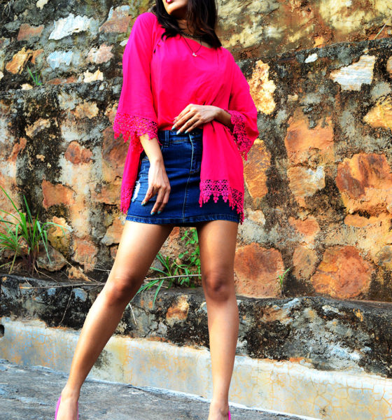 Denim Mini Skirt + Fuchsia Pink