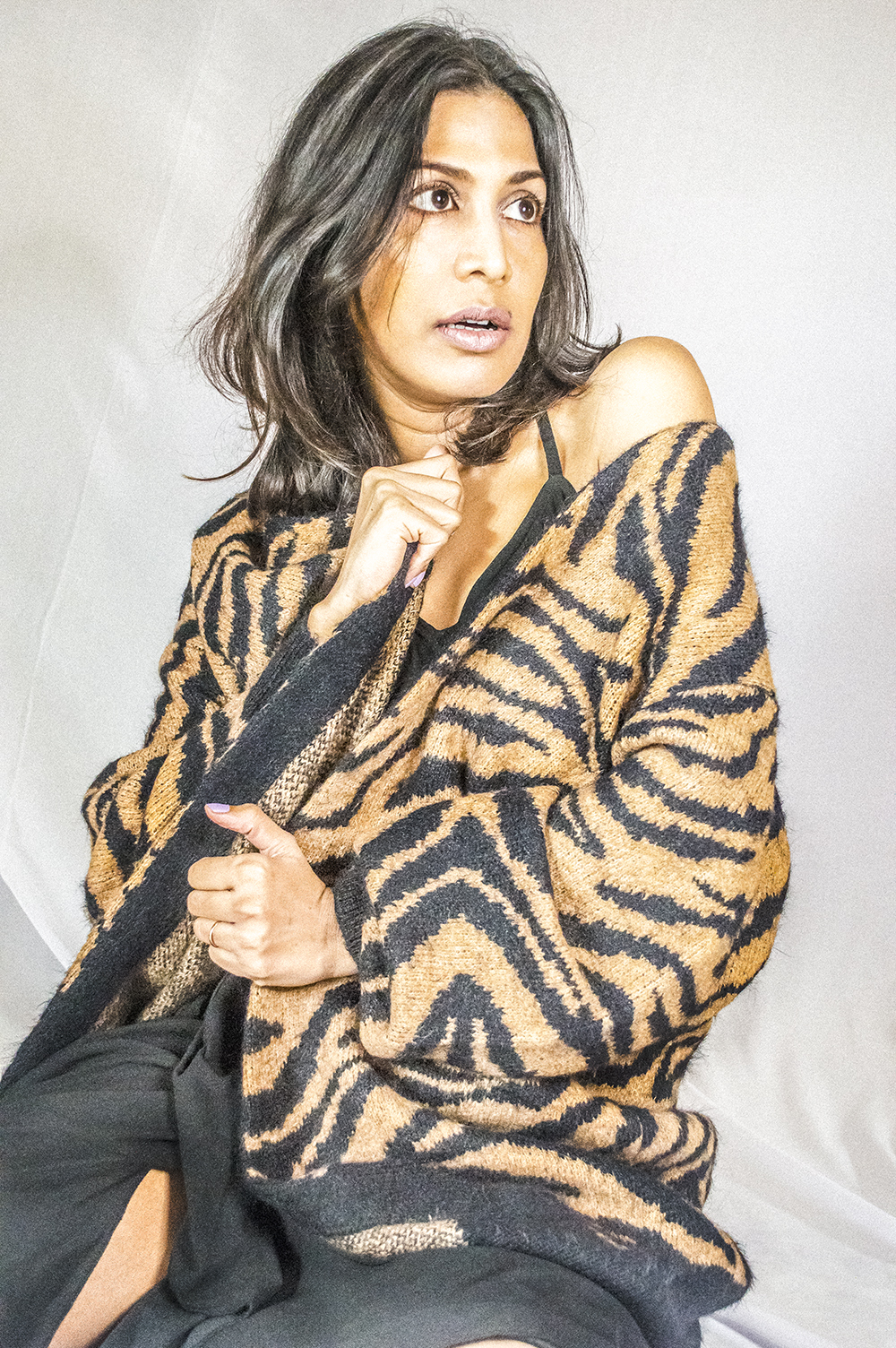 Tiger Print Sweater, Indian Blogger, Fashion Blogger, fashion Influencer, Personal Style, Black Dress, Style Over Coffee-3