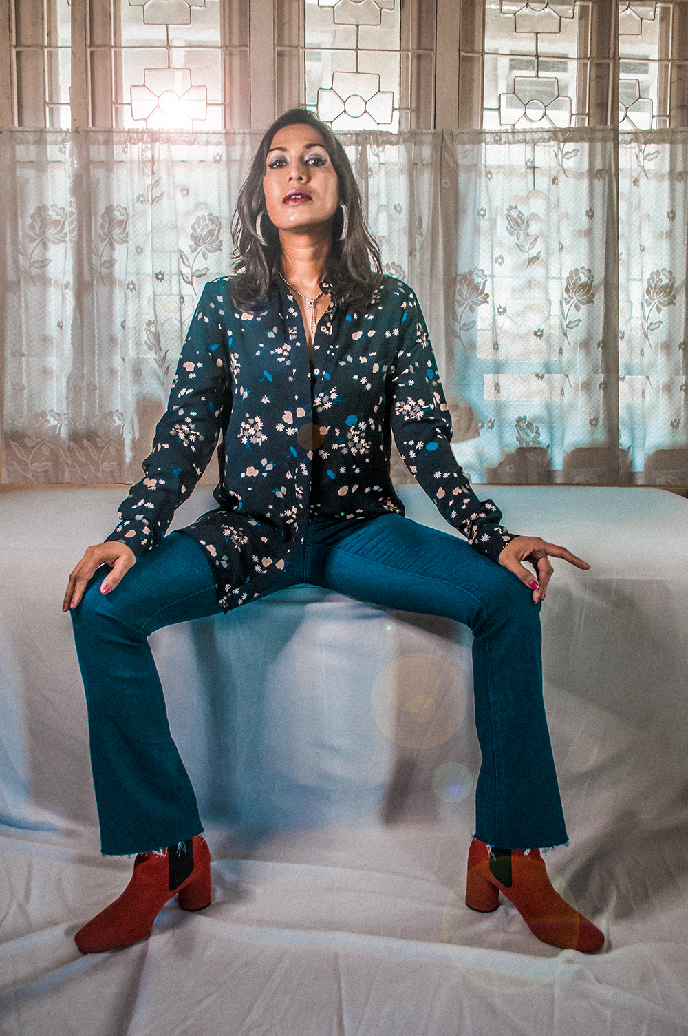 DIY Jeans, Indian Fashion Influencer, Fashion Blogger, fashion Designer, Boot Cut Jeans, Red boots, Floral shirt, sarmistha goswami-1